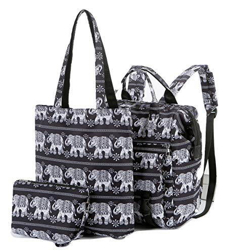 Pack of 3 Ladies Printed Backpack Shopper Cosmetic Bag Women Shoulder Handbag (Elephant)