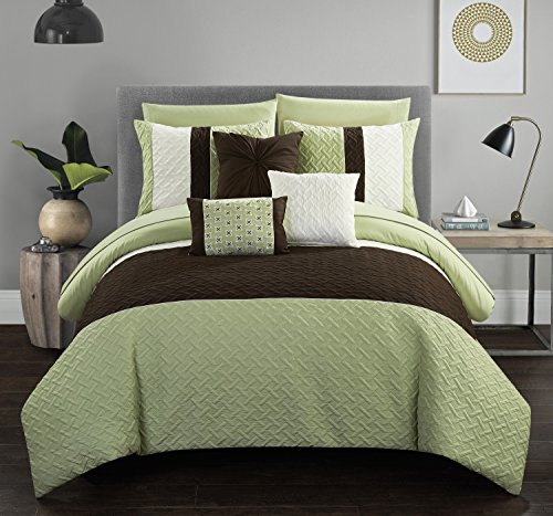 Twin 8pc Arza Bed In A Bag Comforter Set Green - Chic Home Design