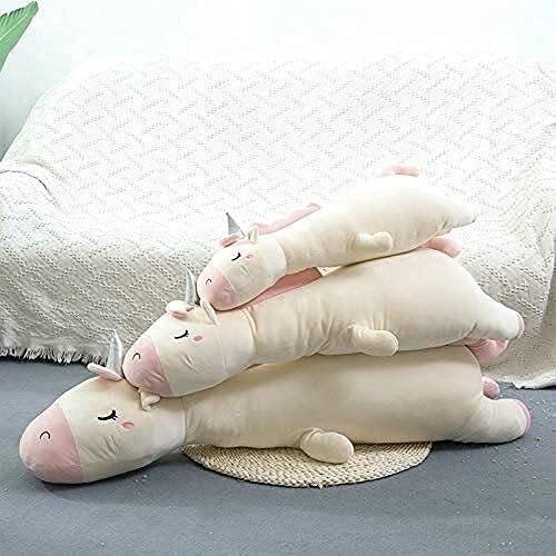 GINDU Super enormes Unicornios Juguete Peluche Rosa Unicornios con bocina de Plata Almohada para Dormir Artificial Animal decoración de la Cama de Lanza a la Almohada de Tiro de 120cm Blueunicorn