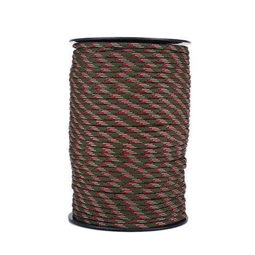 Corde de Parachute, lanière de Corde de Parachute réfléchissante et résistante à l'usure, 100 m 550, 9 torons(Camouflage en forêt)