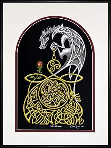 Celtic Dragon - Framed Digital Art Print - Irish Scottish Fantasy Gift Decor