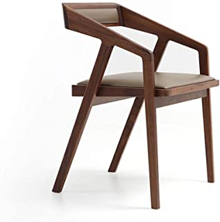 Sillas de comedor, sillas de madera maciza Cocina con amortiguador cómodo de la PU, estructura de madera, estable robusta, sillas de oficina con la ergonomía del arco del respaldo para su hogar,Marrón