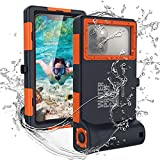 Towevine Professional Photo Video Diving Snorkeling Swimming Waterproof Case [15m/50ft]with Built in Screen Protector for Galaxy and iPhone Series Smartphones with Lanyard (Orange)