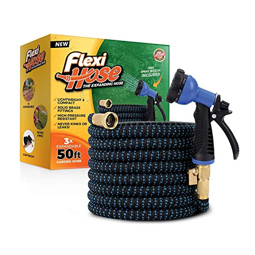 Flexible can Wate Hose with 100/% Solid Brass Valve 50ft Expandable Garden Hose