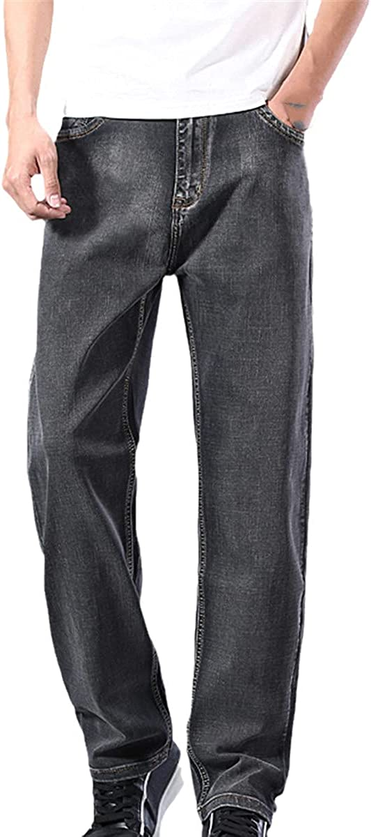 CACLSL Men's Light Blue Jeans Loose Straight-Leg Senior Stretch Jeans Men's