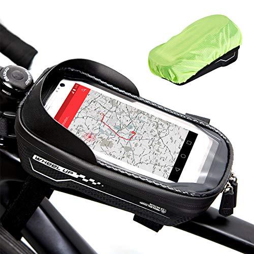 Fahrrad Rahmentasche, handyhalterung fahrrad wasserdicht fahrradtasche rahmen Beutel Handytasche Fahrrad Groß Touchscreen Smartphone Tasche mit Öffnung für Kopfhörer für alle Smartphones bis 6,5 Zoll