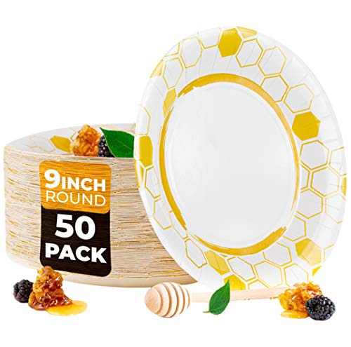 BEELEEVE [50-Pack] Disposable Thin Paper Plates for Light Food - Eco-Friendly | Coated | Leak, Soak, Cut Proof - Hot & Cold Food for Parties, Events, Everyday - Sustainable – Compostable (23 cm)