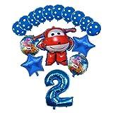 Djujiabh Globos 16pcs 3D Super Wings Globo Figura de Dibujos Animados Fiesta de cumpleaños 32 Pulgadas Número Decoraciones Niños Juguete Globos Niños Juguetes (Color : Blue-3)