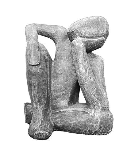 Tiefes Kunsthandwerk Steinfigur Träumer in Schiefergrau, abstrakte Deko-Figur für Haus und Garten, Moderne Statue als Garten-Figur