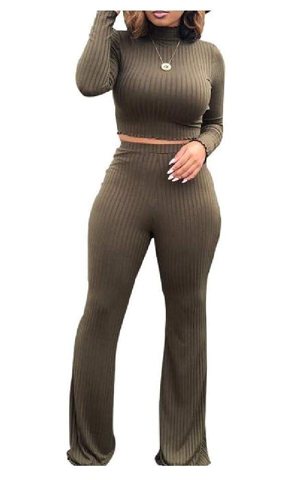 ガム感嘆訴えるVITryst Women's Ribbed Knit Flexible Fashion 2 Pieces Tracksuits Outfit