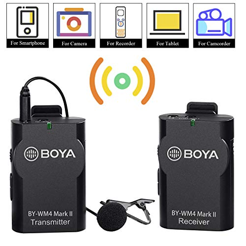 BOYA 3.5mm Lavalier Wireless Microphone Mic with Real-time Monitor for iOS Smartphone iPad Tablet DSLR Camera Sony RX0 Camcorder Audio Recorder PC Audio/Video