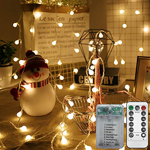 Gavenia 50FT 100 LEDs Battery Operated String Lights Globe Fairy Lights with Remote Control for Outdoor/Indoor Bedroom,Garden,Christmas Tree[8 Modes,Timer ] (Warm White)