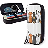 Multicultural Dog Family Cute Pen Pencil Case Leather 8 X 3.5 X 1.5 Inch Big Capacity Double Zippers Pencil Pouch Bag Pen Holder Box for School Office Girls Boys Boys