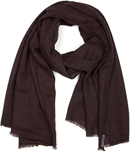 styleBREAKER unifarbener Schal in Jute Web-Optik mit kleinen Fransen, Unisex 01018092, Farbe:Dunkelbraun