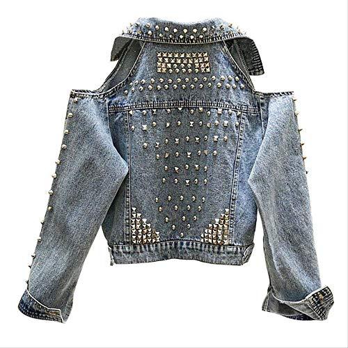 QXNZY Jacken Vintage Kurze Jean Jacke Mantel Frau Schwere Streetwear Lose Lange Ärmel Jeansjacken Hübsche Damenjacke L Blau