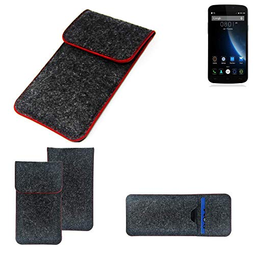 K-S-Trade Handy Schutz Hülle Für Doogee X6S Schutzhülle Handyhülle Filztasche Pouch Tasche Hülle Sleeve Filzhülle Dunkelgrau Roter Rand