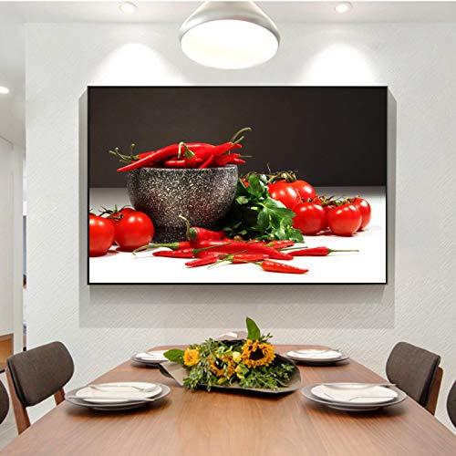ZMFBHFBH Tomates y pimientos Arte de la Pared Impresiones en Lienzo Carteles e Impresiones de Pared de Cocina realistas Imágenes modulares para Sala de Cocina 20x30cm con Marco
