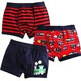 [Vaenait Baby] 2-9歳子供肌着綿100%キッズ男の子下着ブリーフ3枚組パンツショートボクサー Choo Choo Train XL (8-9歳)