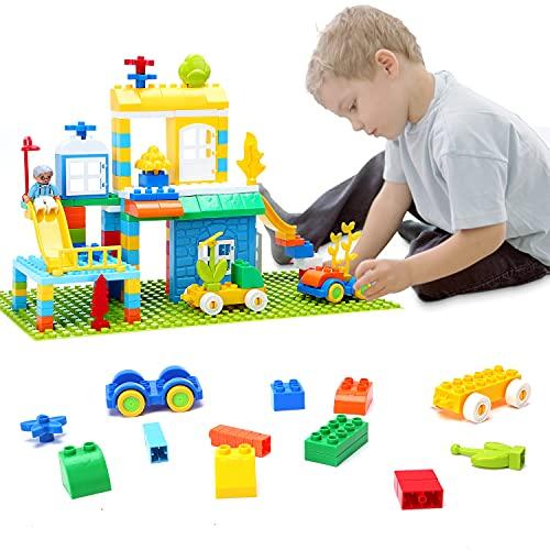 Lekebaby Bausteine, 155 Stück Große Bauklötze mit 2 Duplo-Bauplatte, Building Blocks für Mädchen Jungen 3 4 5 6 Jahre und älter