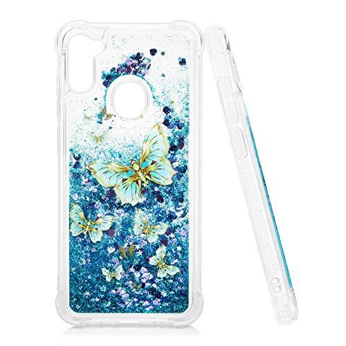 Mavis's Diary Liquid Glitter Case for Galaxy A11 Blue