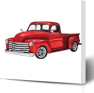 Ahawoso Canvas Prints Wall Art Printing 8x10 Red Custom Old Watercolor Vintage Toy Model Truck Car Box Pickup Classic Life Retro Automobile Van Painting Artwork Home Living Room Office Bedroom Dorm