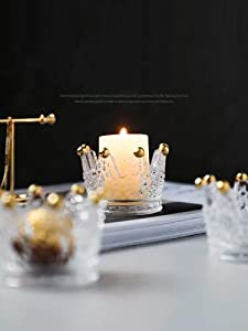 Creative Ashtray,(Gold,3pieces) ,Storage Rack, Storage Box,Candle Holders Crown Glass, Candle Holder for Wedding Party and Home Decor and Ashtray