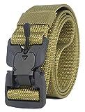 Longwu Hebilla súper magnética Lona de nylon de liberación rápida Cinturón táctico militar transpirable para hombres y mujeres con hebilla de plástico Marrón