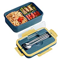 zoneyan porta pranzo, lunch box con posate (forchetta e cucchiaio), 1000ml kids bento box con 3 scomparti per studenti, adulti, bambini picnic (blu)
