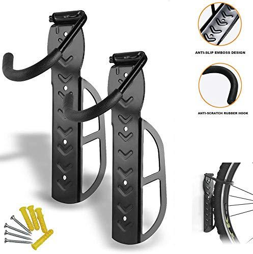 CHIYA Set de 2 Soportes de Pared para Bicicleta con Tornillos,Soportes de Pared Soporte para Bicicletas,para el Garaje Soluciones de Almacenamiento de Bicicletas