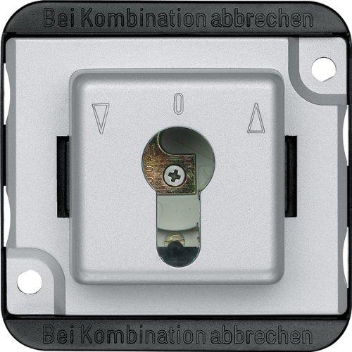 Merten 318760 Rollladen-Tast-Rastschalter-Eins. f. Schließzylinder, 2-pol, mattsilber, PANZER