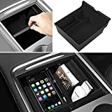 [2021 Upgraded] Uxcer Tesla Center Console Organizer Tray Fit for Latest 2021 Tesla Model 3 Model Y Accessories Interior Parts Flocked Armrest Storage Box Container Hidden Cubby Drawer Insert Tray