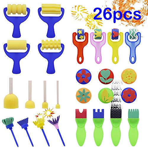 Kids Sponge Painting Brushes Kit 26 Pieces Foam Roller Paint Brush Set Washable Drawing Tools Art & Crafts Supplies for Children Early Learning DIY