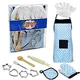 11 STÜCKE Komplette Kids Chef Set, Kinder Kochen Spielküche Wasserdichte Backschürzen, Rollenspiel Küchenutensilien Backenwerkzeuge Kuchen Schürze für Kinder G