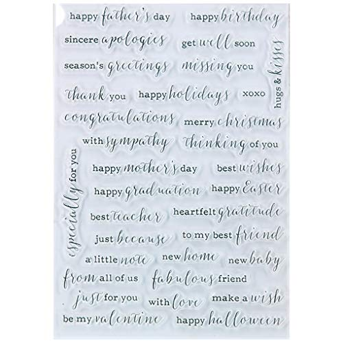 Kwan Crafts Word Happy father's day Mother's day happy birthday get well soon Clear Stamps for Card Making Decoration and DIY Scrapbooking