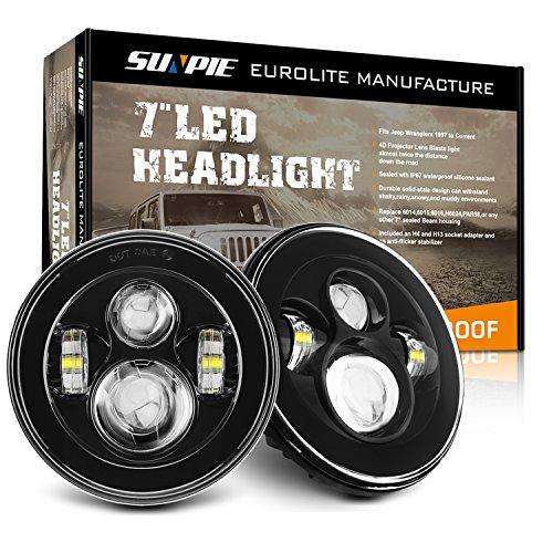 Sunpie Black 7' Round LED Projection Headlights Kit for Jeep Wrangler Jk TJ LJ Rubicon Sahara Willys Hummer H1 H2(BUILT IN LED CANBUS)