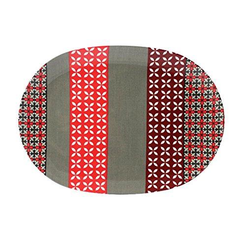 cartaffini – Plat Ovale Provence, Gris/Rouge – en mélamine avec décoration en Tissu véritable (seelvy), 34,8 x 24,7 cm