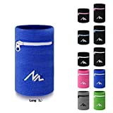 NEWZILL Wrist Wallet (Wristband) with Zipper - for Running, Walking, Basketball, Tennis, Hiking, Cross-Fit and More (Blue-L)
