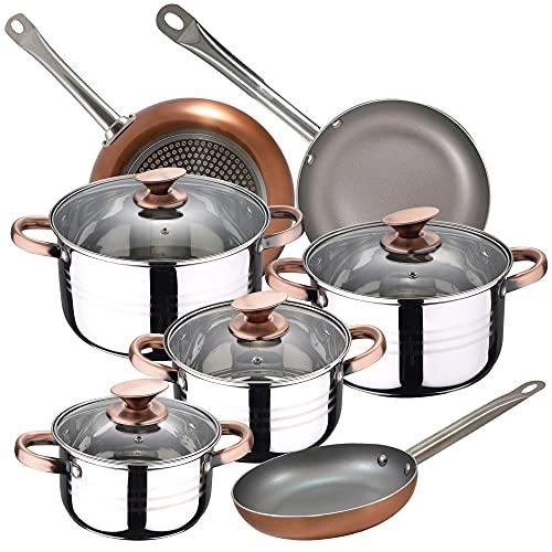 Bateria de cocina 7 piezas SAN IGNACIO Faro, acero inoxidable, con juego sartenes (18/22/26 cm) SAN IGNACIO Optimum Plus en aluminio prensado
