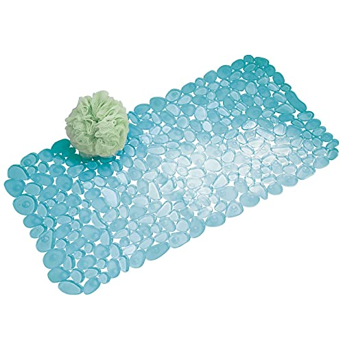 mDesign Bath Mat with Suction Cups - Non Slip Shower Mat Made of Sturdy and Resistant PVC - Soft Square Bathroom Mat - Blue