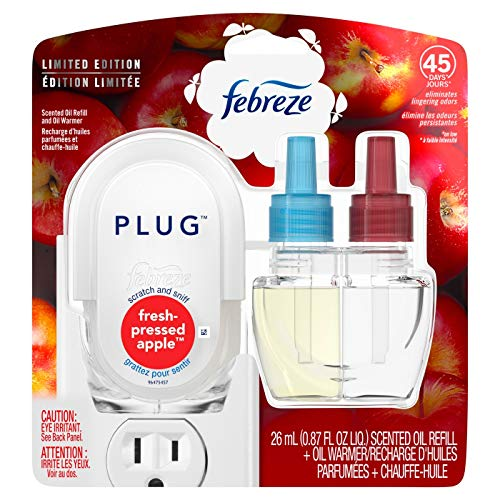 Febreze Fresh-Pressed Apple Scented Plug Air Freshener Scented Oil Refill and Oil Warmer - 1ct White