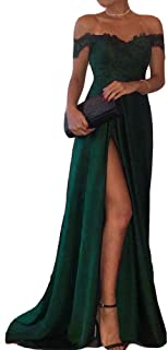 Off Shoulder V Neck Front Slit Long Lace Prom Formal Evening Party Dresses