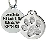 GoTags Paw Print Round Pet ID Tag, 1.4' x 1.2', Stainless Steel