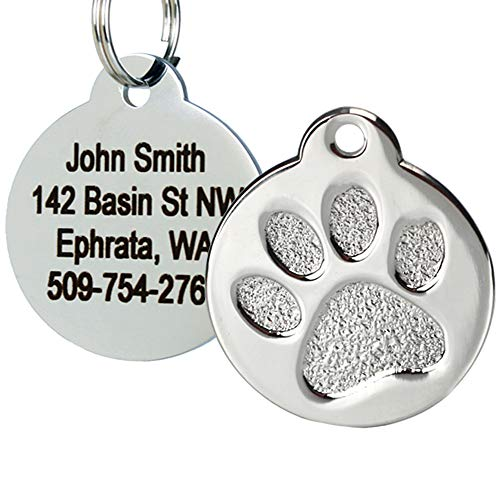 GoTags Paw Print Round Pet ID Tag, 1' by .09', Stainless Steel