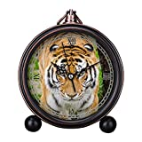 GIRLSIGHT Vintage Retro Living Room Decorative Non-Ticking, HD Glass Lens, Quartz, Analog Large Numerals Bedside Table Desk Alarm Clock Cute Cat Dog Series -517.Tiger Beside Tree