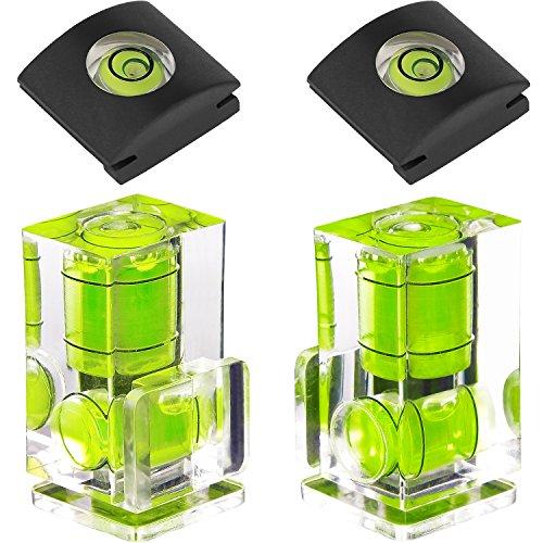 ChromLives Blitzschuh Wasserwaagenkamera Blitzschuhabdeckung 2 Achsen Wasserwaage für DSLR-Filmkamera Canon Nikon Olympus, Combo Pack 2 Achsen und 1 Achse 4Pack