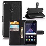 Guran® Funda de Cuero PU para Huawei P8 Lite 2017 / P9 Lite 2017 Smartphone Función de Soporte con Ranura para Tarjetas Flip Case Cover Caso-Negro