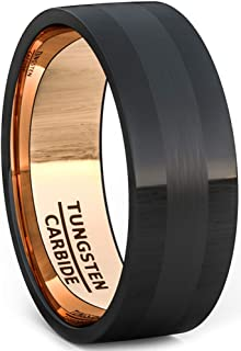 black tungsten with rose gold inlay