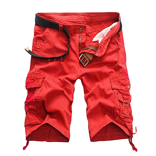 MISSMAO Herren Kurze Hosen Gerade Camouflage Hose Männer Short Cargohose Feldhose Sommer Arbeitshose Casual Sporthose Rot 32