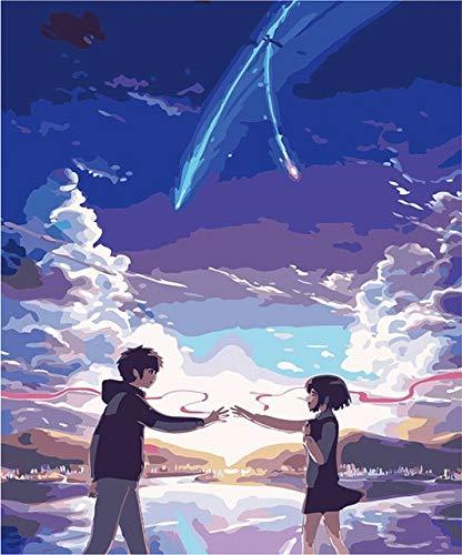 JHGJHK Dibujos Animados de Anime japonés Manga Miyamizu Mitsuba Pintura al óleo, fanáticos del Anime decoración del hogar Pintura al óleo (3)