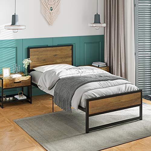 ADORNEVE Marco de cama individual de 90 x 200 cm con cabecero/plataforma, estructura de cama de metal con estribo, soporte de listones de metal resistente, fácil de montar
